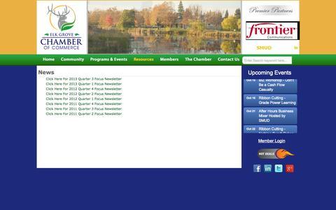 Screenshot of Press Page elkgroveca.com - News - Elk Grove CA Chamber of CommerceElk Grove CA Chamber of Commerce - captured Oct. 2, 2014