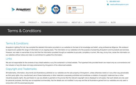 Screenshot of Terms Page arraystorm.com - Terms & Conditions - Arraystorm | Professional LED Lighting Systems - captured June 11, 2018