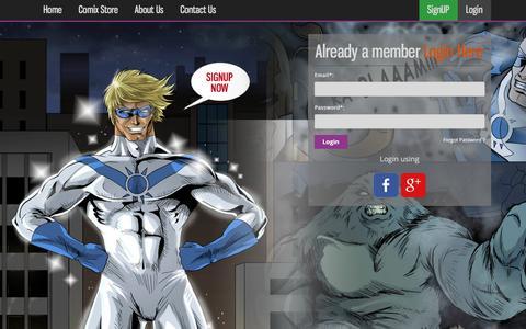 Screenshot of Login Page cloud9comix.com - Cloud9Comix - captured March 2, 2016