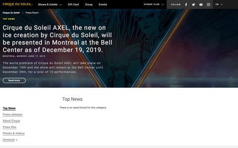 Screenshot of Press Page cirquedusoleil.com - Read the latest and top news of the Press Room | Cirque du Soleil - captured Aug. 19, 2019