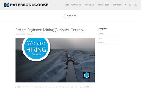 Screenshot of Jobs Page patersoncooke.com - Careers Archives - Paterson & Cooke - captured July 16, 2018