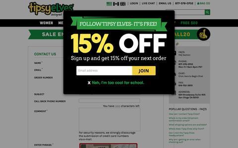 Screenshot of Contact Page tipsyelves.com - Contact Us | Tipsy Elves - captured Nov. 4, 2015