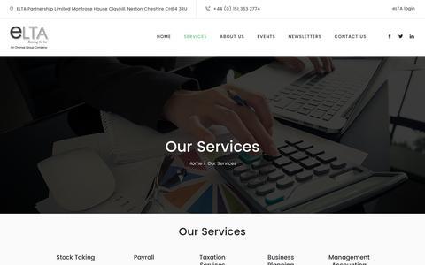 Screenshot of Services Page e-lta.com - Our Services – eLTA - captured Nov. 6, 2016