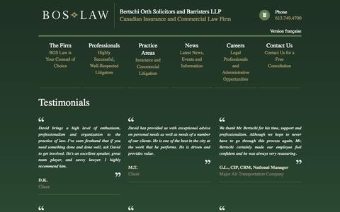 Screenshot of Testimonials Page boslaw.ca - Bertschi Orth Solicitors and Barristers LLP - Canadian Insurance and Commercial Law Firm - captured Oct. 5, 2014