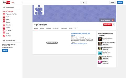 Screenshot of YouTube Page youtube.com - Isg eSolutions  - YouTube - captured Oct. 27, 2014