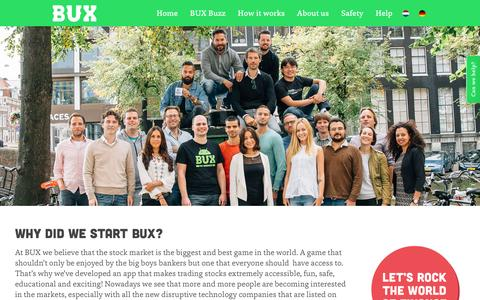 Screenshot of About Page getbux.com - About us - BUX - captured Feb. 7, 2016