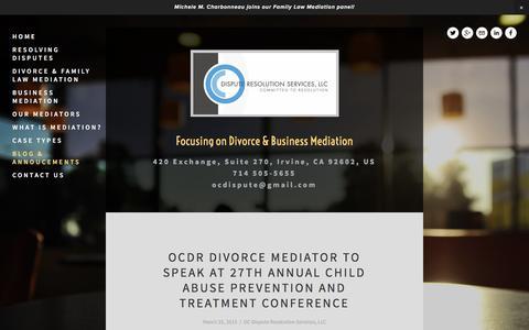 Screenshot of Blog ocdispute.com - Blog & Annoucements — OC Dispute Resolution Services, LLC - captured Feb. 13, 2016