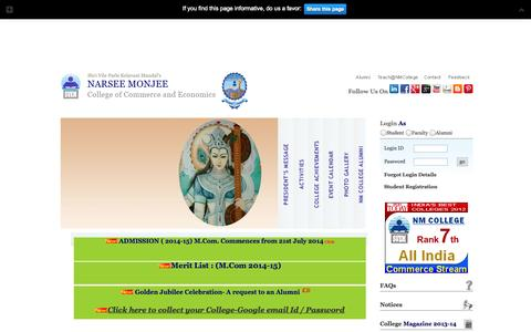 Screenshot of Home Page nmcollege.in - Narsee Monjee College of Commerce and Economics - captured Sept. 19, 2014