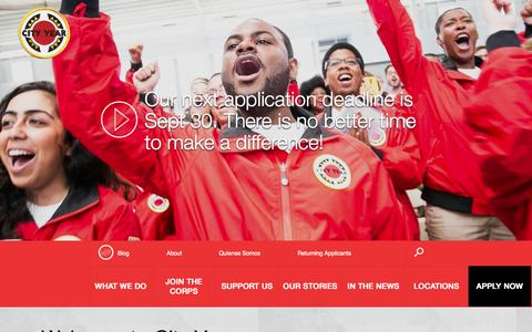 Screenshot of Home Page cityyear.org - City Year - captured Sept. 19, 2014