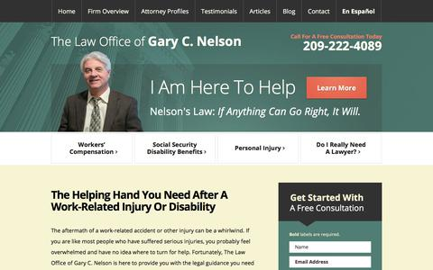 Screenshot of Home Page gcnelsonlaw.com - Modesto Workers Compensation Lawyer | Social Security Disability | Personal Injury - captured July 19, 2017