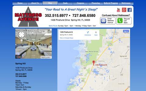 Screenshot of Maps & Directions Page mattressavenue.com - Map - captured Oct. 1, 2014