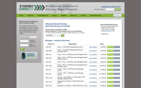 Screenshot of Pricing Page ethernetdirect.com - Ethernet Direct - captured Oct. 3, 2014