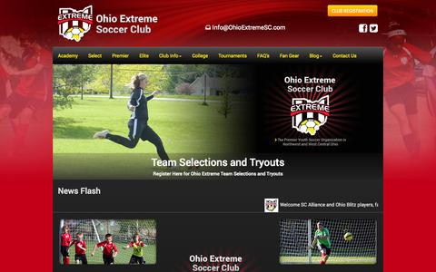 Screenshot of Home Page ohioextremesc.com - Ohio Extreme Soccer Club - Ohio Competitive Soccer - captured Oct. 6, 2014