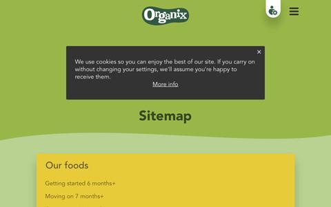 Screenshot of Site Map Page organix.com - Sitemap | Organix - captured June 25, 2017