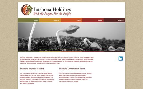 Screenshot of Home Page intshona.com - Intshona Holdings | with the people, for the people - captured Oct. 6, 2014