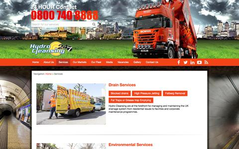 Screenshot of Services Page hydro-cleansing.com - Find Out About The Services We Offer | Services | Hydro Cleansing - captured May 24, 2017