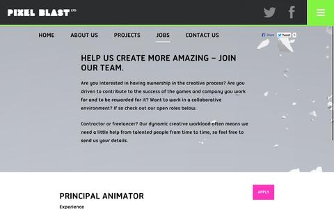 Screenshot of Jobs Page pixel-blast.com - Help us create more amazing – join our team. | Pixel Blast - captured Nov. 2, 2014