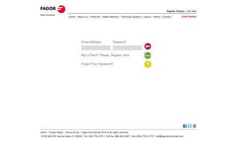 Screenshot of Login Page fagorcommercial.com - Fagor Commercial -  Customer Login - captured Sept. 30, 2014