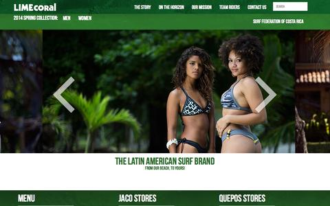 Screenshot of Home Page limecoral.com - LimeCoral Apparel Company - captured Oct. 2, 2014