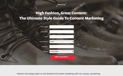 Screenshot of Landing Page newscred.com - High Fashion, Great Content: The Ultimate Style Guide to Content Marketing | NewsCred - captured Dec. 17, 2015