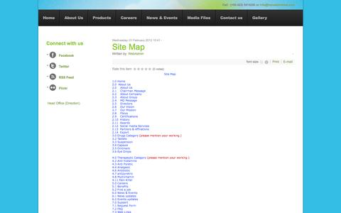 Screenshot of Site Map Page hanselpharma.com - Site Map - captured Oct. 2, 2014