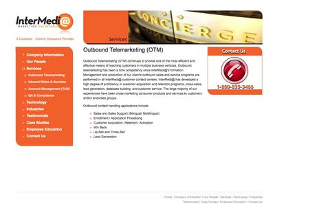 Screenshot of Services Page intermediamarketing.com - Outbound Telemarketing (OTM) - InterMedi@ Marketing Solutions - captured Oct. 6, 2014