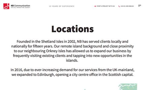 Screenshot of Locations Page nbcommunication.com - NB Communication   Digital Marketing in Shetland, Orkney and Edinburgh - captured Oct. 19, 2017