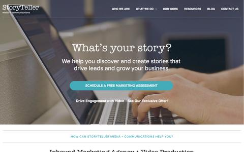 Screenshot of Home Page storytellermn.com - Inbound Marketing Agency + Video Production Company - captured Feb. 24, 2016