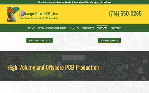 Screenshot of Services Page megapluspcb.com - Offshore PCB Production, Circuit Board Manufacturer | MPPI - captured Oct. 17, 2018