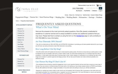 Screenshot of FAQ Page ninaellejewels.com - Frequently Asked Questions - captured Oct. 3, 2014
