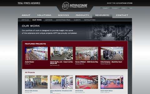 Screenshot of Case Studies Page afproducts.com - Advantage Fitness Products | Fitness Solution Case Studies And Key Installations - captured Oct. 10, 2014