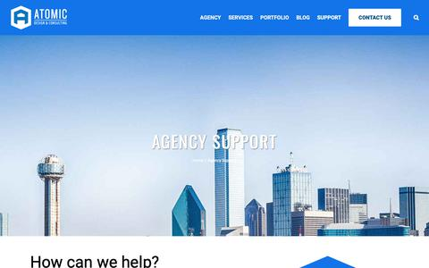 Screenshot of Support Page atomicdc.com - Agency Support | Dallas Digital Agency - Web design, SEO, Social Media, Email Marketing - captured Nov. 13, 2018