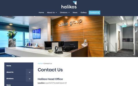 Screenshot of Contact Page halikos.com.au - Contact Us - captured Sept. 26, 2018