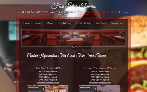Screenshot of Locations Page fivestartavern.com - Locations | Five Star Tavern, Nevada - captured Nov. 25, 2016