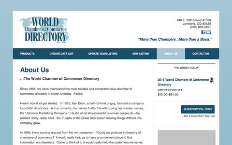 Screenshot of About Page chamberdirectoryonline.com - About Us - World Chamber of Commerce Directory - captured Oct. 26, 2014