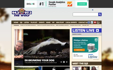 Screenshot of Home Page hudsonvalleycountry.com - 94.3 & 97.3 The Wolf – The Best Country All Day – Poughkeepsie Country Music - captured June 11, 2016