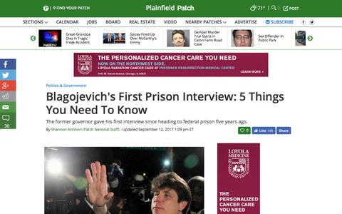 Screenshot of patch.com - Blagojevich's First Prison Interview: 5 Things You Need To Know - Plainfield, IL Patch - captured Sept. 13, 2017