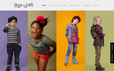 Screenshot of Home Page boysgirls.eu - Boys + Girls | Hét volwassen kindervakblad voor de kinderkledingbranche - captured June 22, 2015