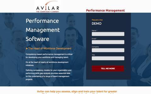 Screenshot of Landing Page avilar.com - Performance Management Software | Avilar - captured Dec. 31, 2016