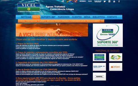 Screenshot of FAQ Page vicel.com.br - Grupo VICEL - Águas Tratadas. Consciência Limpa. - captured Oct. 26, 2014
