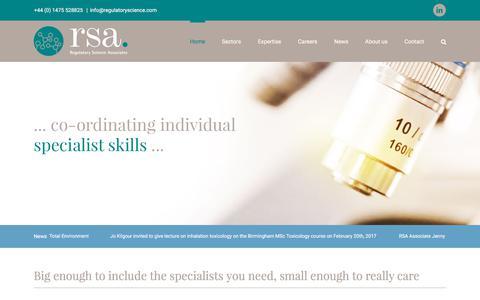 Screenshot of Home Page regulatoryscience.com - Regulatory Science Associates - RSA - Toxicologists, Regulatory Affairs Specialists and PMs - captured Nov. 7, 2017