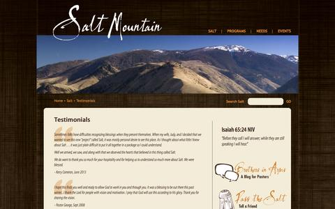 Screenshot of Testimonials Page saltmountain.org - Testimonials | Salt Mountain Pastoral Retreat - captured Oct. 3, 2014