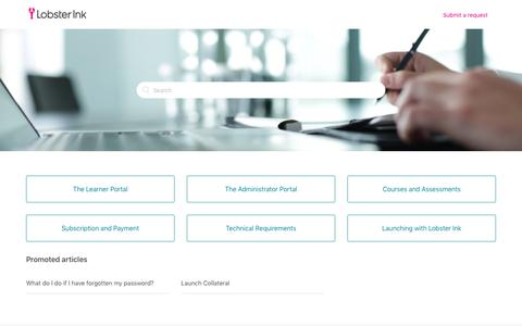 Screenshot of Support Page lobsterink.com - Lobster Ink - captured Feb. 8, 2019