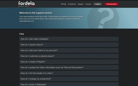 Screenshot of Support Page fordela.com - Support | Fordela - captured Sept. 30, 2014