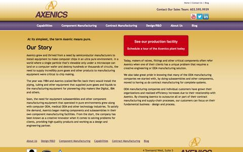 Screenshot of About Page axenics.com - About Us - captured Sept. 30, 2014
