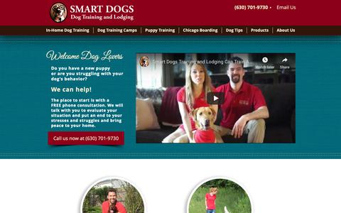Screenshot of Home Page smartdogstrainingandlodging.com - In-home Dog & Puppy Training in Chicago, Naples, and Kansas City - captured Oct. 20, 2018