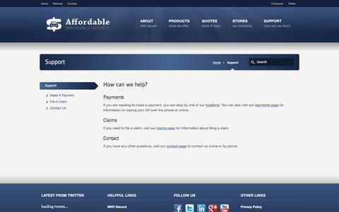 Screenshot of Support Page affordableinsurancetn.com - Support | Affordable Insurance - captured Feb. 5, 2016