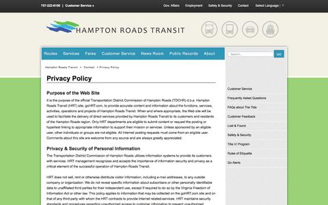 Screenshot of Privacy Page gohrt.com - Privacy Policy - Hampton Roads Transit - Bus, trolley, light rail, and ferry transportation, routes, schedules, rates and contacts. - captured July 14, 2017