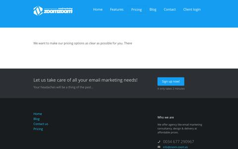 Screenshot of Pricing Page zoom-zoom.es - Pricing     Zoom Zoom Email Marketing Spain - captured Oct. 6, 2014
