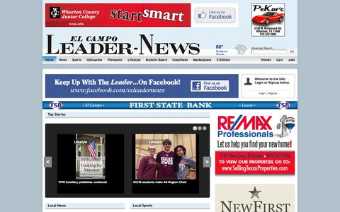 Screenshot of Home Page leader-news.com - Leader News - captured Nov. 1, 2016